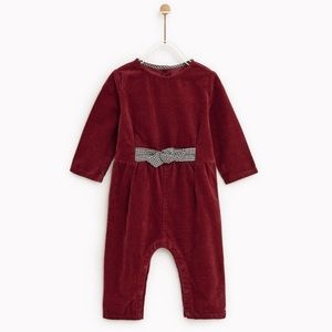 Zara baby girl corduroy jumpsuit with bow